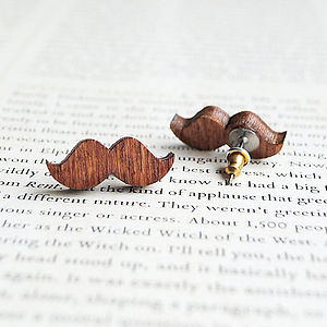 Wooden Moustache Earrings - women's jewellery