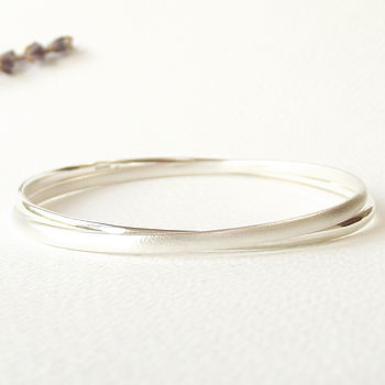 Polished + Matte Simple Silver Eternity Bangle - Standard