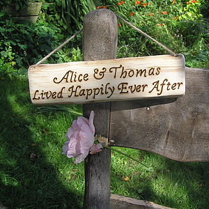Personalised Hand Engraved Wooden Wedding Sign - outdoor decorations