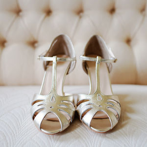 Ginger Leather T Bar Wedding Sandals - shoes