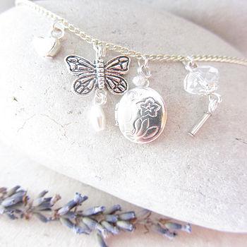 Heart Locket Butterfly Handmade Necklace Gift