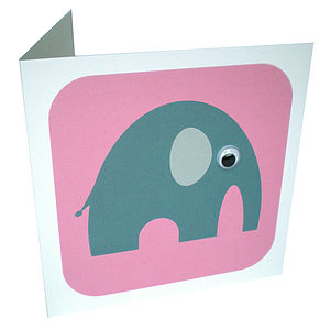 Wobbly Eyed Elephant Card - birthday cards