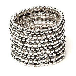 Silver Stretch Cuff Bracelet - wedding jewellery