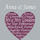 Personalised Wedding Heart- Aubergine