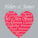 Personalised Wedding Heart - Red