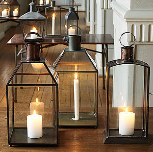 Large Metal Hurricane Lantern - outdoor lighting & candles
