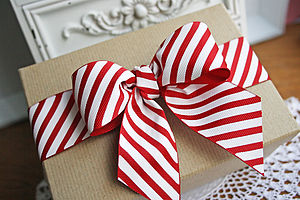 Christmas Diagonal Stripe Grosgrain Ribbon - sewing & knitting