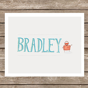 Personalised Robot Name Print - baby's room