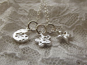 Personalised Three Charm Silver Necklace - necklaces & pendants