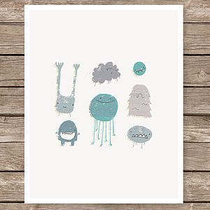 Illustrated Monster Art Print - children's pictures & paintings