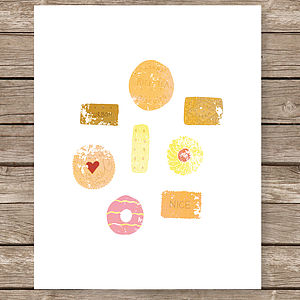 Illustrated Biscuits Art Print - children's pictures & paintings