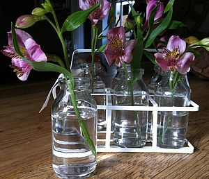 Retro School Milk Bottles With Crate - vases