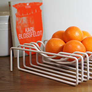 Wire Fruit Bowl, White - tableware