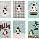 Pack Of Six Embellished Felt Penguin Cards