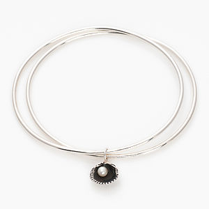 Silver Sea Shell And Pearl Bangle