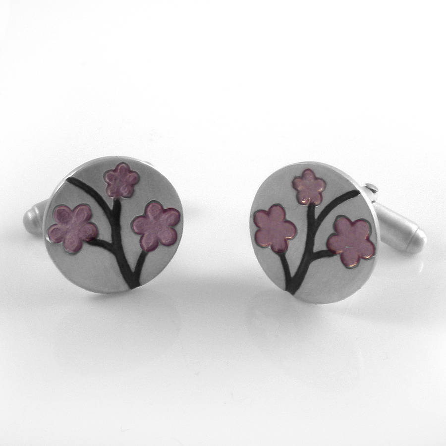 Silver And Resin Cherry Blossom Cufflinks