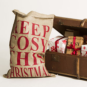 Christmas Sack 'Keep Cosy This Christmas' - living room