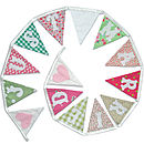 Just Married Bunting in Country Pinks and Greens