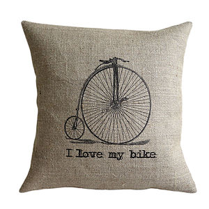 'I Love My Bike' Cushion - gifts for cyclists