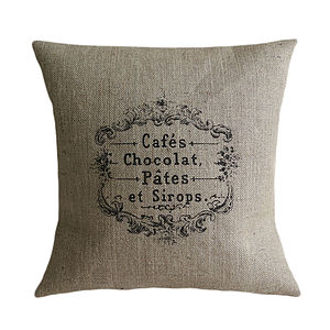 'Cafes et Chocolat' Cushion - bedroom