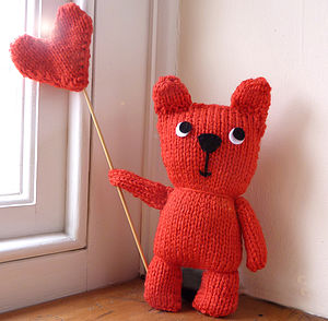 Red Teddy Bear Knitting Kit - knitting kits