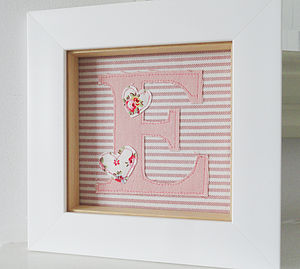 Girls Framed Embroidered Initial Artwork - mixed media & collage