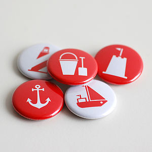 Set Of Five Nautical Badges