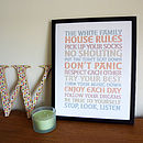 Family House Rules Personalised Print