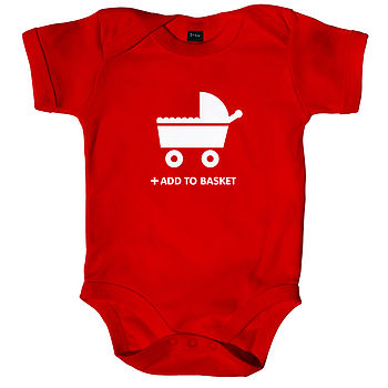 Pp Red 'Add To Basket' Baby Grow