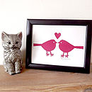 Love Birds Handprinted Wedding Gift Print