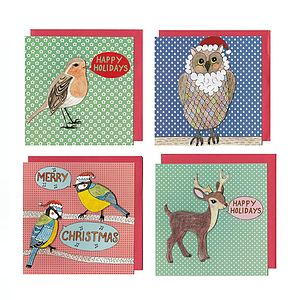 Pack Of 12 3D Effect Christmas Cards