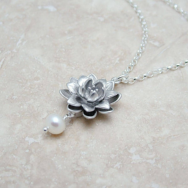 lotus flower necklace with pearl by wished for ...