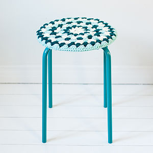 Crocheted Stool Cover - retro living room