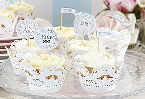 Vintage Inspired Cupcake Flag Decorations - winter sale