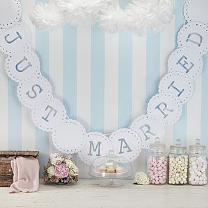 Lace Style 'Just Married' Bunting - bunting & garlands