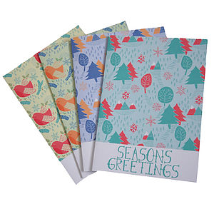 Pack Of Four Seasonal Christmas Cards - cards & wrap