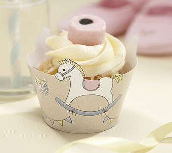 Rock A Bye Baby Rocking Horse Cupcake Wraps