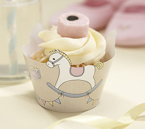Rock A Bye Baby Rocking Horse Cupcake Wraps - baby shower decorations