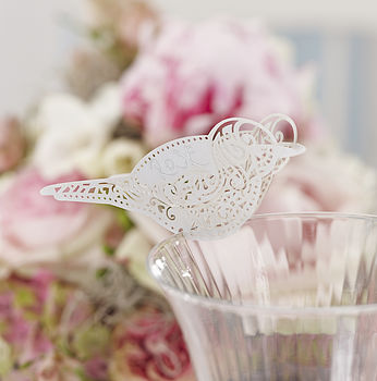 Laser Cut Lace Bird Glass Place Card
