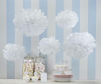 Pack Of Five White Tissue Paper Pom Poms