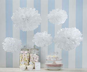 Pack Of Five White Tissue Paper Pom Poms - garlands, bunting & hanging decorations