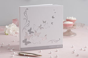 Butterfly Silver Embossed Guest Book - birds & butterflies