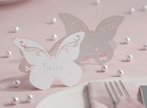 Freestanding Laser Cut Butterfly Place Cards - place card holders