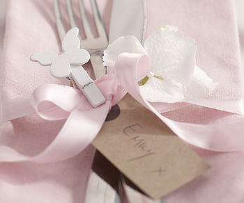 White Butterfly Peg Place Card Decoration