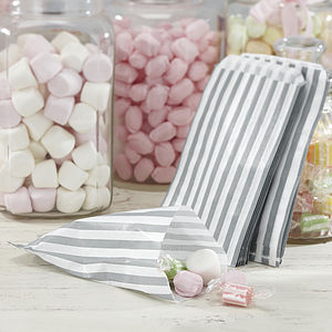 Pack Of 25 Striped Candy Bags - wedding favours