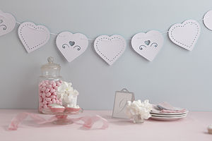 Heart Paper Bunting - outdoor decorations