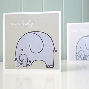 Elephants Newborn Baby Card