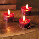 Set Of Six Winter Berry Heart Tealights