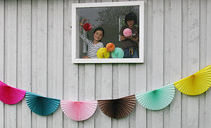 Colourful Fan Party Garland - decorative accessories