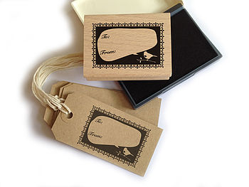 DIY Gift Tag Set: Bird Rubber Stamp